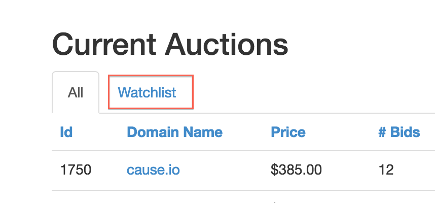 Auction watchlist